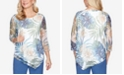 Alfred Dunner Plus Size Three Quarter Sleeve Asymmetrical Tropical Leaves Mesh Knit Top