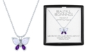 """Macy's Lab-Created Amethyst (1/5 ct. t.w.), Opal (7x5mm) & Diamond Accent Butterfly Pendant in Sterling Silver, 16"""" + 2"""" extender"""