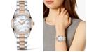 Longines Women's Swiss Conquest Classic Diamond (1/20 ct. t.w.) Two-Tone Stainless Steel Bracelet Watch 34mm
