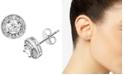 Essentials Cubic Zirconia Halo Stud Earrings in Fine Silver-Plate