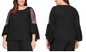 Alex Evenings Plus Size Metallic-Knit Illusion-Sleeve Blouse