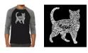 LA Pop Art Cat Men's Raglan Word Art T-shirt