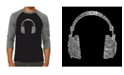 LA Pop Art Headphones Men's Raglan Word Art T-shirt