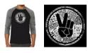 LA Pop Art Make Love Not War Men's Raglan Word Art T-shirt