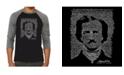 LA Pop Art Edgar Allan Poe Men's Raglan Word Art T-shirt