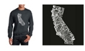 LA Pop Art Men's Word Art California State Crewneck Sweatshirt