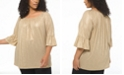Michael Kors Plus Size Shimmering Scoop-Neck Peasant Top