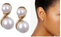 Anne Klein Gold-Tone Glass Pearl E-Z Comfort Clip-On Earrings