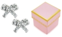 Macy's Children's Swarovski Crystal Bow Stud Earrings in Resin Epoxy and 14k Gold (1/4 ct. t.w.)