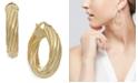 Italian Gold Twist Hoop Earrings in 14k Gold, 1 inch