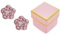 Macy's Children's Pink Crystal Flower Stud Earrings in 14k Gold
