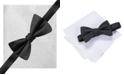 Alfani Men's Black Bow Tie & Pocket Square Set