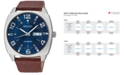 Seiko Men's Automatic Recraft Brown Leather Strap Watch 44mm SNKN37