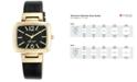 Nine West Women's Black Leather Strap Watch 37x36mm NW-1840BKBK