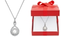 Macy's White Cultured Pearl (6-1/2mm) and Diamond (1/4 ct. t.w.) Pendant Necklace in 14k White Gold (Also Available in 14k Yellow Gold & 14k Rose Gold)