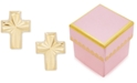 Macy's Children's Textured Cross Stud Earrings in 14k Gold