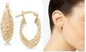 Italian Gold Textured Multi-Ring Oval Hoop Earrings in 14k Gold