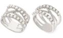 Macy's Cultured Freshwater Pearl (2mm) & Diamond (1/4 ct. t.w.) Crisscross Ring in Sterling Silver