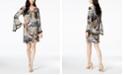 MSK Peacock-Print Bell-Sleeve Dress