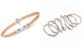 CHARRIOL Women's Debutante White Topaz Two-Tone Bangle Bracelet (5/8 ct. t.w.) in Stainless Steel & Rose Gold-Tone PVD