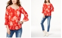 INC International Concepts I.N.C. Printed Off-The-Shoulder Peasant Top, Created for Macy's