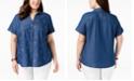 Karen Scott Plus Size Cotton Denim Embroidered Shirt, Created for Macy's