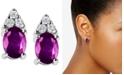 Macy's Pink Sapphire (2 ct. t.w.) & Diamond (1/5 ct. t.w.) Stud Earrings in 14k White Gold