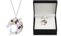 """Macy's Multi-Gemstone Openwork Dolphin 18"""" Pendant Necklace (2-1/8 ct. t.w.) in Sterling Silver"""