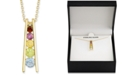 """Macy's Multi-Gemstone (5/8 ct. t.w.) & Diamond Accent Ladder 18"""" Pendant Necklace in 18k Gold-Plated Sterling Silver"""