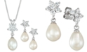 Macy's Cultured Freshwater Pearl (7 x 9mm) & Cubic Zirconia Pendant Necklace & Drop Earrings Set in Sterling Silver, Created for Macy's