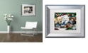 "Trademark Global Jenny Newland 'Curious Christmas Pups' Matted Framed Art, 11"" x 14"""