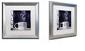 "Trademark Global Color Bakery 'Cafe Blue Iii' Matted Framed Art, 16"" x 16"""