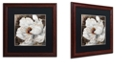"Trademark Global Color Bakery 'Fleurs Blanc Iii' Matted Framed Art, 16"" x 16"""