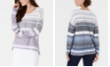 Style & Co Petite Striped Drop-Shoulder Sweater, Created for Macy's
