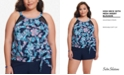 Swim Solutions High-Neck Mesh-Insert Tankini Top, Created for Macy's