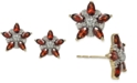 Macy's Rhodolite Garnet (1-1/3 ct. t.w.) & Diamond (1/5 ct. t.w.) Star Stud Earrings in 14k Gold