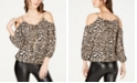 INC International Concepts INC Animal-Print Chain-Detail Cold-Shoulder Top, Created for Macy's