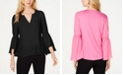 INC International Concepts I.N.C. Smocked Bell-Sleeve Top, Created for Macy's