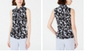 Bar III Printed Bow-Neck Blouse, Created for Macy's