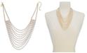 "Thalia Sodi Gold-Tone White Baguette Multi-Row Necklace, 17"" + 3"" extender, Created for Macy's"