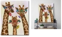 """Courtside Market Giraffe and Flower Glasses Trio Gallery-Wrapped Canvas Wall Art - 16"""" x 20"""""""
