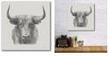 """Courtside Market Black Bull Gallery-Wrapped Canvas Wall Art - 16"""" x 16"""""""