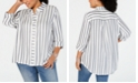 INC International Concepts INC Plus Size Metallic-Stripe Shirt, Created for Macy's