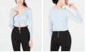 Material Girl Juniors' Ruched-Front Cropped Sweater, Created for Macy's