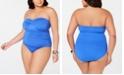 Lauren Ralph Lauren Plus Size Beach Club Underwire Bandeau Slimming Fit One-Piece Swimsuit
