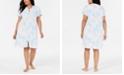 Miss Elaine Plus Size Printed Micro-Terry Zip Robe