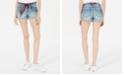 Vanilla Star Juniors' Bandanna-Belted Cuffed Denim Shorts