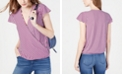 INC International Concepts INC Striped Cap-Sleeve Wrap Shirt, Created for Macy's
