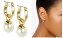 "Anne Klein Gold-Tone Imitation Pearl Drop Off 1/2"" Hoop Earrings"