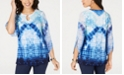 JM Collection Embellished Tie-Dyed 3/4-Sleeve Top, Created for Macy's